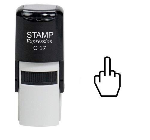 StampExpression - Middle Finger Outline Self Inking Rubber Stamp - Black Ink (A-6487)