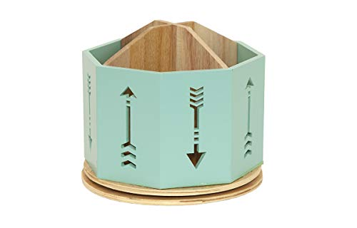 Spinning Desktop Stationary Organizer - Decorative Wooden Rotating Pen and Pencil Cup - 4 Compartment Teal Desk and Table Top Office Supplies Station with Arrow Design - by Designstyles ()