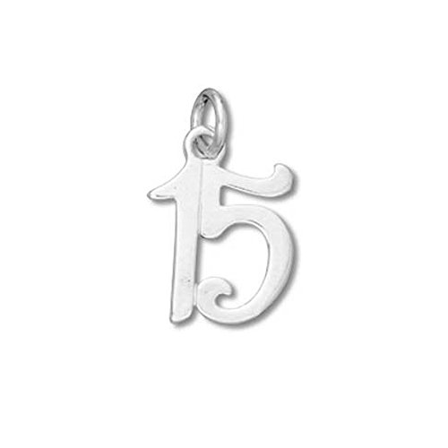 Sterling Silver #15 Birthday Charm with Split Ring #53028