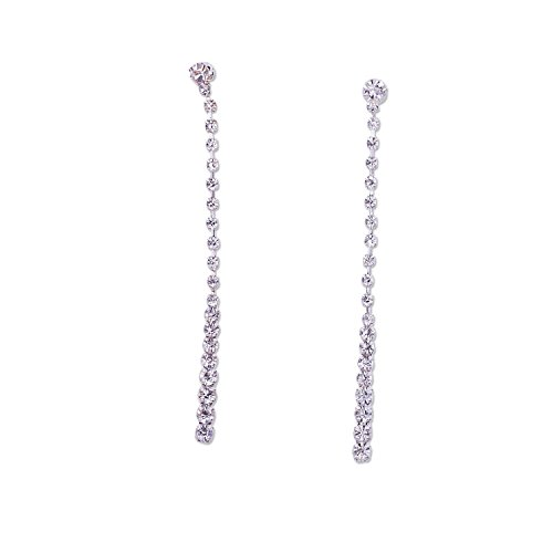 (Silver Crystal Long Dangle Earrings)