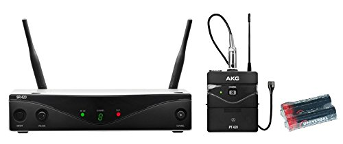 AKG WMS420 Presenter Set Wireless Lavalier Microphone System (Band A: 530.025 to 559.00 MHz) with 2 Free Universal Electronics AA Batteries by AKG
