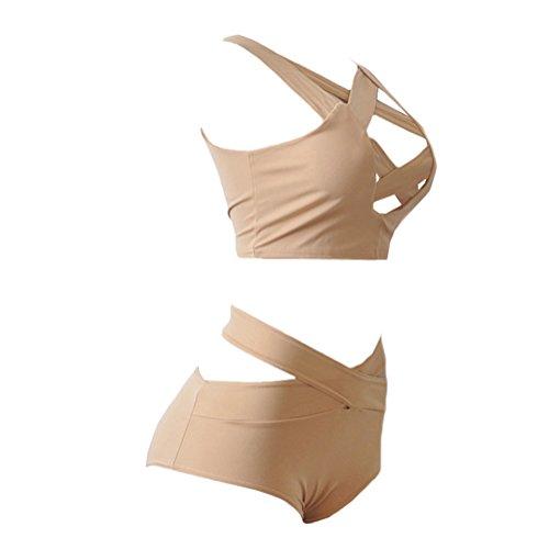 Scothen Señoras rellenado empuja hacia arriba cabestro bikini conjuntos de sujetador vendaje diseño del traje de baño traje de baño de la playa ropa de playa de moda Bohemia Tankini Halter apricot