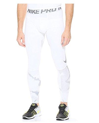 Nike Men's Pro Hyperwarm Compression Tights White Grey 801986 100 (XXL) (Nike Pro Zonal Strength Mens Training Tights)