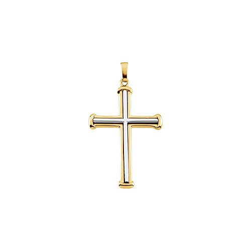 Jewels By Lux 14K Yellow and White Two Tone Gold 34.75 X 25.00 mm Polished Two Tone Cross Pendant