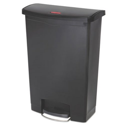 Rubbermaid 1883615 Slim Jim Resin Step-On Container, Front Step Style, 24 gal, Black