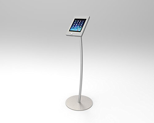 FixtureDisplays iPad Podium Stand, Locking Enclosure, Ledge for Speaker's Notes, Power Cable - Silver 19614 19614 by FixtureDisplays