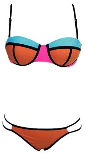 erdbeerloft - Damen Bikini Zweiteiler im Patchwork Style mit Träger, XS-L, Orange