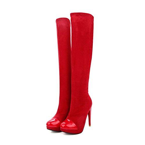 VogueZone009 Damen Ziehen auf Hoher Absatz Blend-Materialien Rein Hoch-Spitze Stiefel Rot