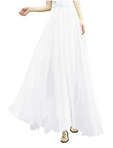Pleated Skirt White Sequin (V28Women Full/Ankle Length Elastic Pleated Retro Maxi Chiffon Long Skirt (M, White))