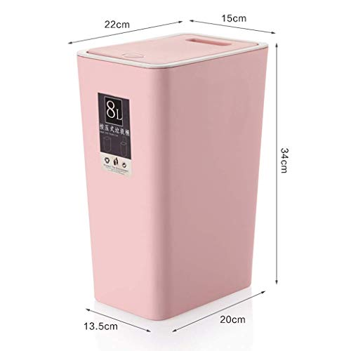 ZXW Trash can- Trash Can Household Rectangle, Beige, Brown, Pink, Green, Blue (Color : Pink, Size : 13.5x20x34cm) Designer Metal Trash Can