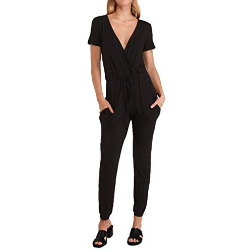 Women Jumpsuits Rompers Summer V Neck Short Sleeve Cross Strap Casual Rompers Long Pants by Gyouanime Black