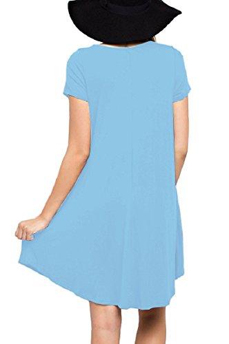 Casual Sleeve Blue Women Light Loose LILBETTER Dress Short Shirt Swing T s 1qBn4wCg