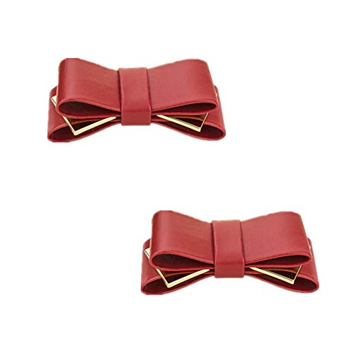 Douqu A Pair Bridal Wedding Multi Colors Elegant Leather Bow Shoe Clips Shoe Accessories for Women Lady (Wine Red) (Bow Shoe Clips)