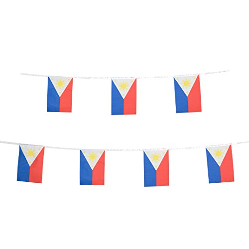 (Philippines Flag,TSMD 100 Feet Filipino Flag 76Pcs National Country World Pennant Flags Banner,Party Decorations For Grand Opening,Olympics,School Sports Events,Bar,International Festival Celebration)