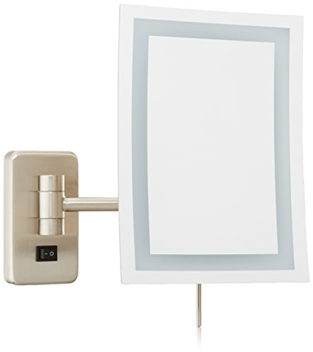 Jerdon JRT710NLD Wall Mount Rectangular Direct Wire Makeup Mirror, Nickel Finish, 6.5