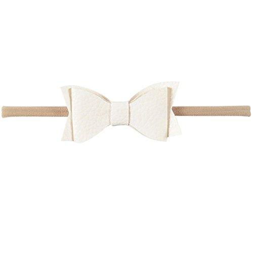 Academyus Girls Toddler Leather Elastic Bow Dress Headband Hairband Wraps -White (Leather Garland)