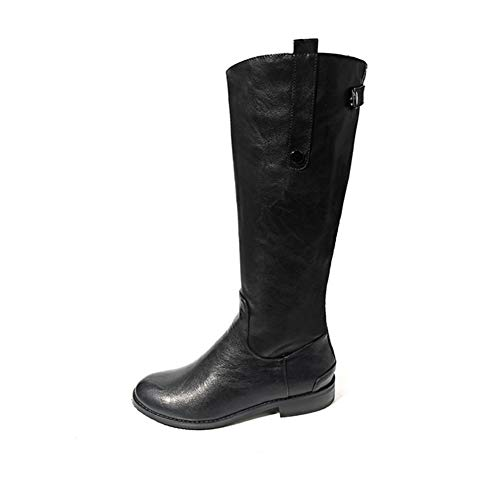Black T-JULY Winter Long Boots Women Vintage Concise shoes Ladies Waterproof PU Leather Casual Rubber Flat Zip Buckle Boots