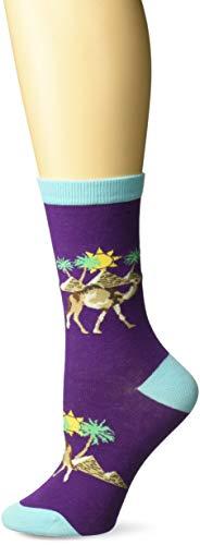 (K. Bell Women's Playful Animals Novelty Casual Crew Socks, Camels (Purple), Shoe Size: 4-10)