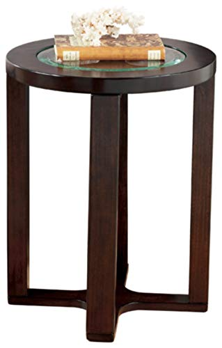- Ashley Furniture Signature Design - Marion Chair Side End Table - Contemporary Style - Round - Dark Brown with Beveled Glass Top