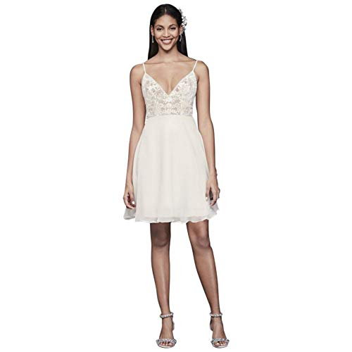 Short Sheer Bodice Organza A-Line Dress Style DS870104, Ivory, 14