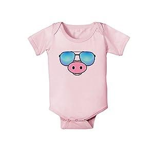 TooLoud Kyu-T Face - Oinkz Cool Sunglasses Infant One Piece Bodysuit - Light Pink - 6 Months