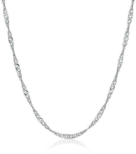 (Sterling Silver Italian 1.4 mm Singapore-Chain Necklace, 18