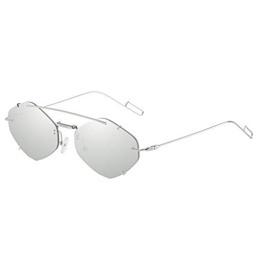 Ikevan_ Retro Small Oval Sunglasses Women Female Vintage Hip Hop Glasses Retro Sun Glass Cat Eye Flat Lens Eyewear (Gray)