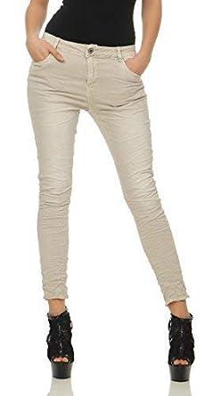 b198b2d3b Lexxury Chinos Vaqueros Mujer Novio Holgado Pantalones Cl 2760 - Beige