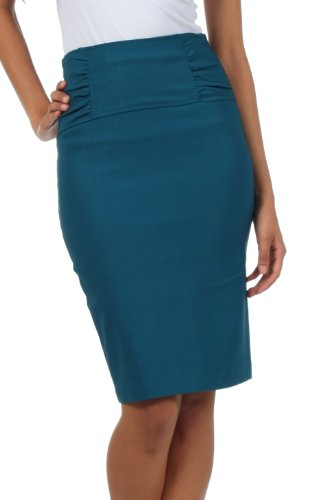 IMI-5235 Petite High Waist Stretch Pencil Skirt With Shirred Waist Detail - TealBlue / 3X