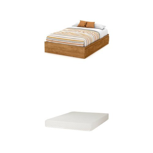 South Shore Little Treasures Full Mates Bed (54'') with 3 Drawers, Country Pine, and Somea Full Mattress Included