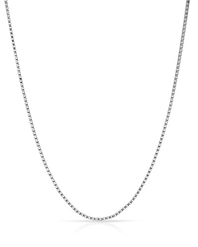 MCS Jewelry 14 Karat White Gold Box Chain Necklace (16