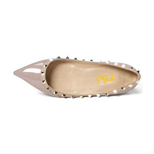 Donne Fsj Slip On Flats Scarpe A Punta Tacco Basso Pompe Ufficio Rivetto Scarpe Taglia 4-15 Us Nude