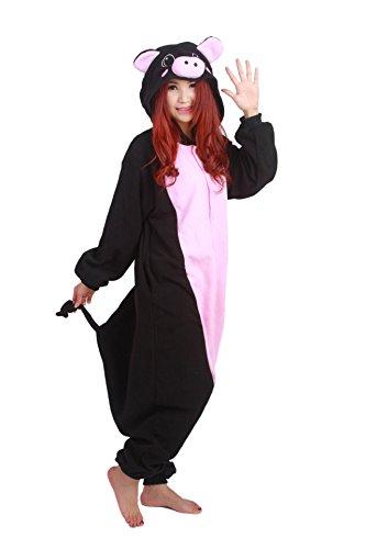 luyao188 Unisex Adult Black Pig Pyjamas Christmas Costume One Piece Animal Cosplay Onesies X-Large