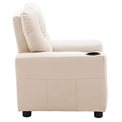 Mcombo Kids Recliner Chair Armrest Sofa Couch with Cup Holder for Toddlers Boys Girls, Faux Leather 7240 (Cream White): Kitchen & Dining