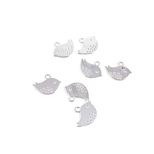 80 Pieces Antique Silver Tone Jewelry Making Charms E2PQ3 Birds Pendant Ancient Findings Craft Supplies Bulk Lots