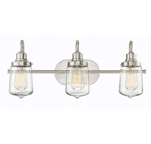 Trade Winds Lighting TW80017BN 3-Light Industrial Retro Vintage Transitional Loft Vanity Bath Light with Clear Glass in Brushed ()