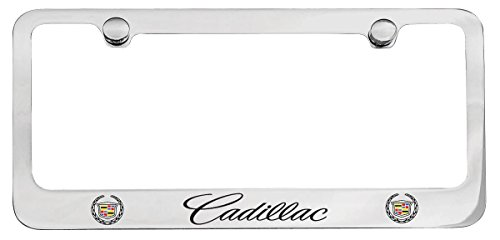 Cadillac Workmark & Logo Chrome Plated Metal License Plate Frame Holder