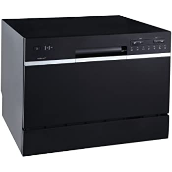 EdgeStar DWP62BL 6 Place Setting Energy Star Rated Portable Countertop  Dishwasher   Black