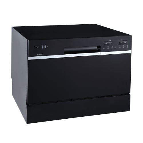 EdgeStar DWP62BL 6 Place Setting Energy Star Rated Portable Countertop Dishwasher – Black