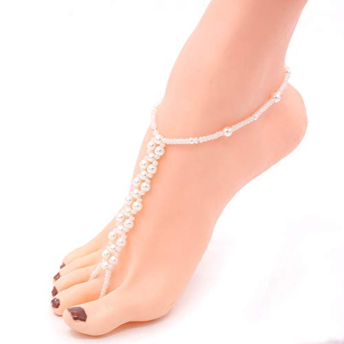 Hanloud Boho Retro Coin Pearl Anklet Vintage Silver Beads Coin Pearl Foot Chain Beach Jewelry 2pcs Pack