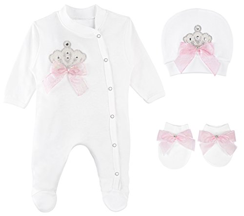 Lilax Baby Girl Jewels Crown Layette 3 Piece Gift Set 0-3 Months Pearl Crown -