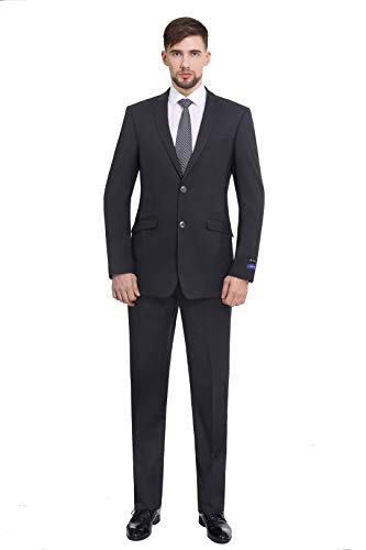 P&L Men's Premium Slim Fit 2-Piece Suit Blazer Jacket & Flat Pants Set Dark Grey
