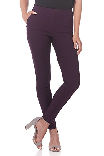Rekucci Women's Ease in to Comfort Modern Stretch Skinny Pant w/Tummy Control (4,Deep Plum)