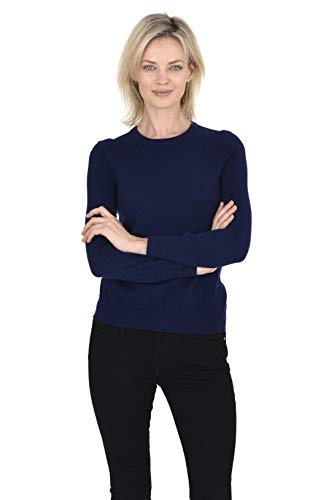 0% Pure Cashmere Classic Knit Soft Long Sleeve Crew Neck Pullover Sweater (Navy, Medium) ()