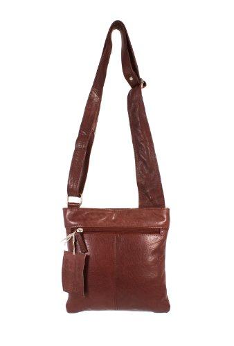 Oxbridge Satchel's - Bolso estilo cartera de Piel para mujer marrón canela