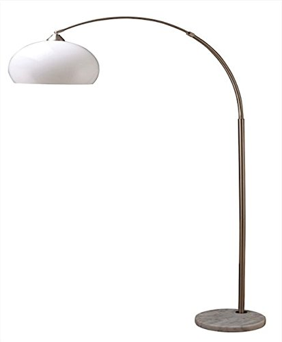 Ore International 6937SN Modern Silver Arc Floor Lamp on White Marble Base, 76-Inch Height