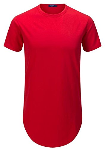 Aiyino Mens Hipster Hip Hop T-Shirt with Side Zipper Trim XL Red
