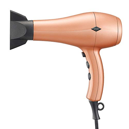 NITION Ceramic Hair Dryer Negative Ion,Ionic Blow Dryer Quick Drying,1875 Watt 2 Speed / 3 Heat Settings,Cool Shot Button,Lightweight,Champagne Gold