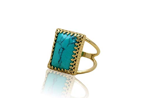 Anemone Jewelry Double Band 14K Gold Ring - Beautiful Gold Turquoise Ring With Calming Effect - Statement Ring Handcrafted By Skilled Artisans [Handmade]