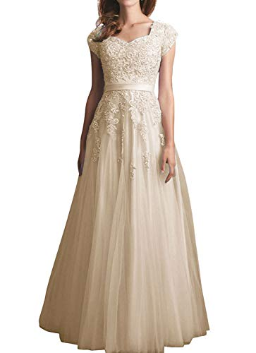 Beiqian Womens Cap Sleeves Evening Dress A Line Lace Wedding Formal Long Prom Gowns(Champagne,12)